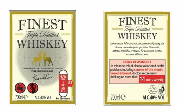 Spirit label with CMO guidelines